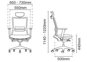 Royce Presidential Medium Back Leather Office Chair Dimension