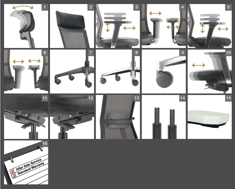 Royce Series Office Chair Optional Specification