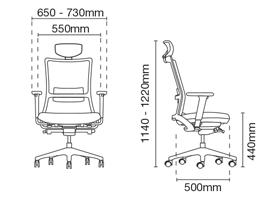 Royce Presidential Medium Back PU Leather Office Chair Dimension