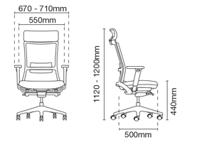 Royce Presidential High Back Softech Office Chair Dimension