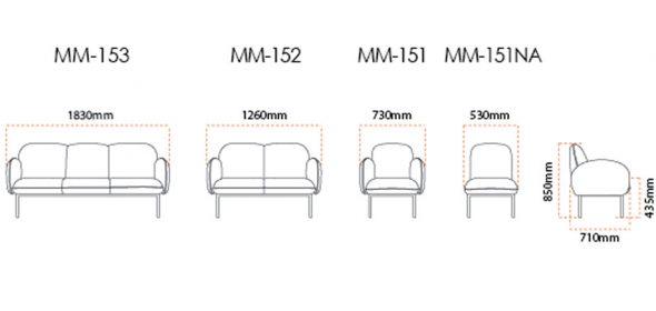 Moment Office Sofa Dimension